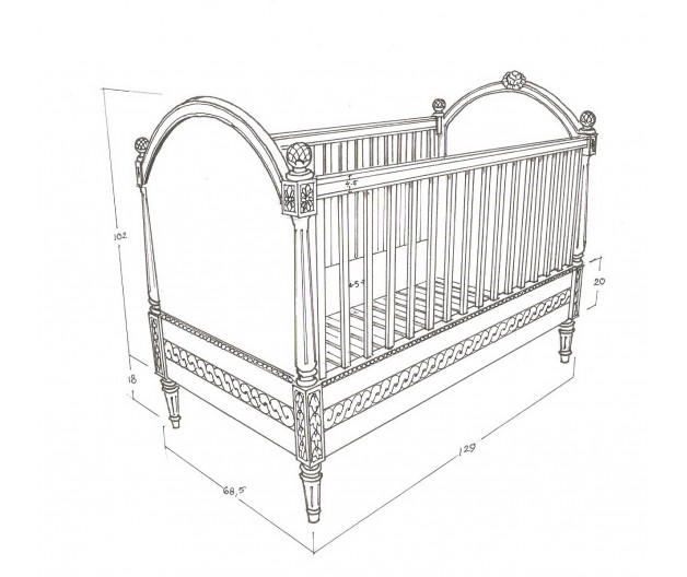 Gustavian babycrib ''Victoria'' rose decor