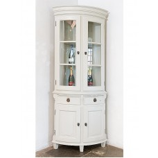 Gustavian corner vitrine with drawers